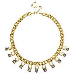 Mood - Grey crystal and cream pearl drop necklace