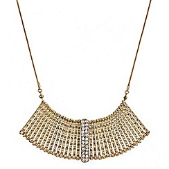 Mood - Textured gold crystal embellished stick necklace