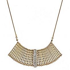 Mood - Textured gold crystal embellished stick necklace