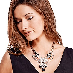 Mood - Statement jet and crystal fan shaped necklace