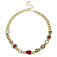 Mood - Mixed red bead and opalesque pearl necklace