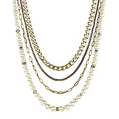 Mood - Pearl and mixed chain four row necklace