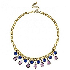 Mood - Blue and purple facet stone drop necklace