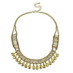 Mood - Diamante crystal and beaten teardrop necklace