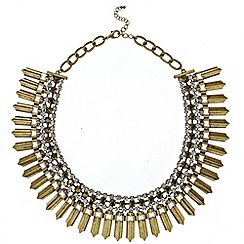 Mood - Statement diamante and gold panel multirow necklace