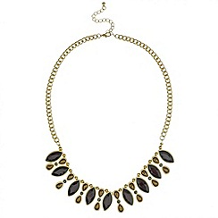 Mood - Navette and bow stone drop necklace