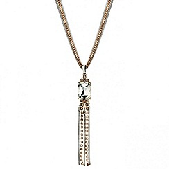 Mood - Diamante and mesh chain crystal drop necklace