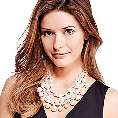 Mood - Statement pearl and crystal ball multirow necklace