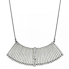 Mood - Polished silver and crystal embellished stick necklace