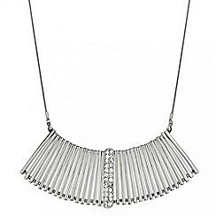 Mood - Polished silver and crystal embellished stick necklace
