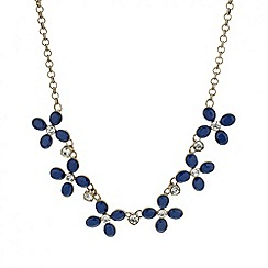 Mood - Crystal and blue petal flower necklace