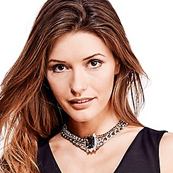 Mood - Multi chain and stone drop choker necklace