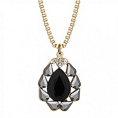Mood - Jet teardrop surround pendant necklace