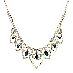 Mood - Green peardrop and diamante bib necklace