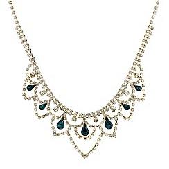 Mood - Green peardrop and diamante bib necklace