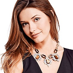 Mood - Tortoiseshell effect crystal triple drop necklace