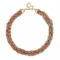 Mood - Plaited pink seed bead collar necklace