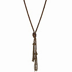 Mood - Brown bugle bead lariat necklace