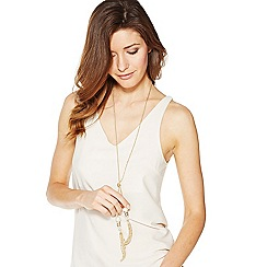 Mood - Long pearl and crystal rondel tassel necklace