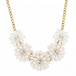 Mood - Statement pearl cluster flower drop necklace