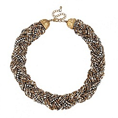 Mood - Plaited brown tonal seed bead necklace