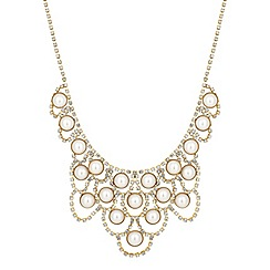 Mood - Pearl and diamante crystal surround bib necklace