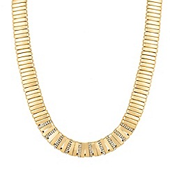 Mood - Crystal encased polished gold collar necklace