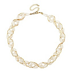 Mood - Cream pearl and bead wrap necklace