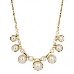 Mood - Pearl drop and gold tubular link necklace