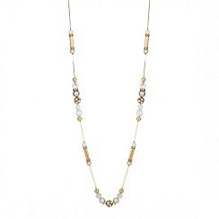 Mood - Long facet bead and gold tubular link necklace