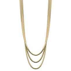 Mood - Polished gold herringbone chain multirow necklace