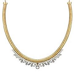 Mood - Diamante teardrop polished gold torque