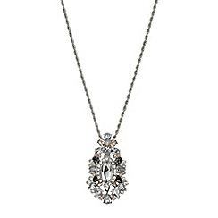 Mood - Long navette crystal surround drop necklace
