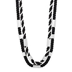 Mood - Monochrome cord and metal bar necklace