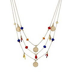 Mood - Bead and textured disc triple row necklace