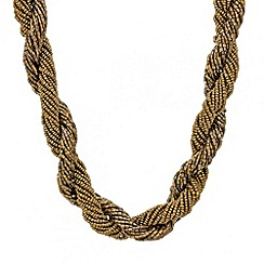 Mood - Brown bugle bead twist necklace