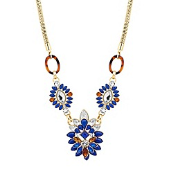 Mood - Blue navette surround triple drop necklace