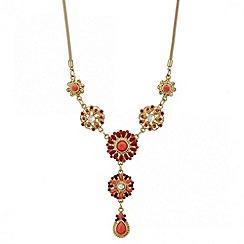 Mood - Embellished coral bead y drop necklace