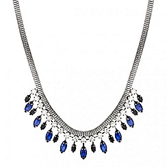 Mood - Blue navette stone drop necklace