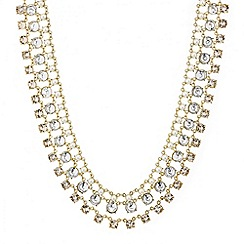 Mood - Pearl and crystal round drop triple row necklace