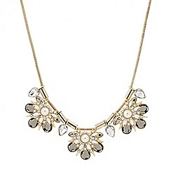 Mood - Pearl and crystal triple cluster drop necklace