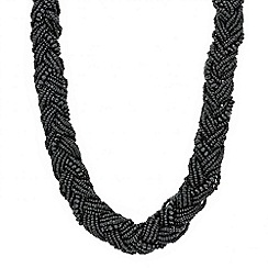 Mood - Jet seed bead plait necklace