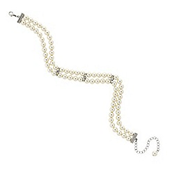 Mood - Pearl and crystal bar double row choker necklace