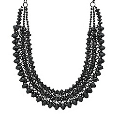 Mood - Jet facet bead triple row necklace