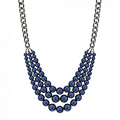 Mood - Blue pearl triple row necklace