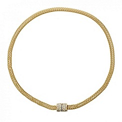 Mood - Crystal magnetic gold mesh necklace