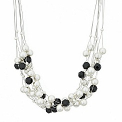 Mood - Jet bead and pearl cluster twist necklace