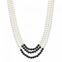 Mood - Jet bead and pearl triple row necklace