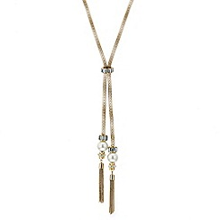 Mood - Pearl and crystal baguette tassel drop necklace