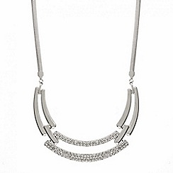 Mood - Polished silver and crystal bar necklace